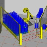 Robot palletising cell Roboguide simulation